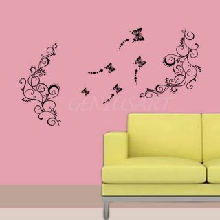 DIY Vine Butterfly Flower Tree PVC Stickers Wall Decal Removable Room Art Decor