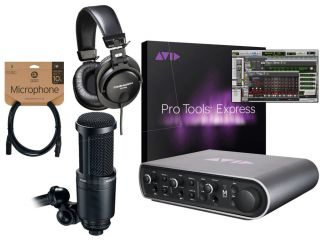 Avid Mbox 3 Pro Tools Express Home Recording Studio Package Bundle AT2020 M35