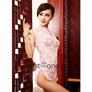 Women Lady Sexy Night Lingerie Sleepwear Lace Cheongsam Chinese Dress G String