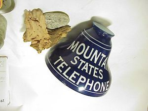 Mountain States Bell Telephone System Glass Advertising Lampshade Porcelain Sign