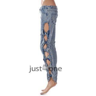 Fashion Sexy Women Ladies Girls Bowknots Cutout Ripped Hollow Jeans Trousers New