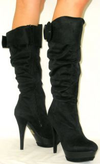 Slouchy Tall Faux Fur Lined Suede Stiletto Heel Buckle Boots Knee High