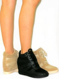 Platform High Top Boot High Heel Wedge Velcro Ankle Bootie Sneakers Tennis Shoe