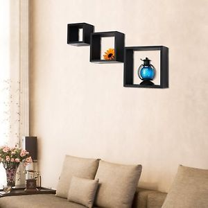 Adeco 3 Piece Decorative Wooden Black Wall Shelves Organizers Frames for Display