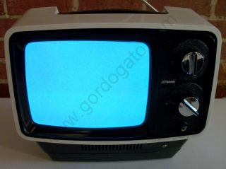 RCA J C JC Penny Solid State Portable Battery Powered Black White Television
