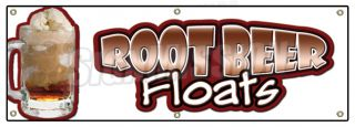 "72"" Root Beer Floats Banner Sign Rootbeer Float Mug Ice Cream Soda Sundae Cone"