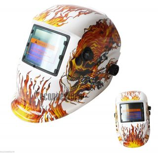TIG MIG Auto Darkening Solar Power Skeleton Flame White Welding Weld Helmet