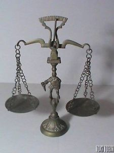 Vintage Antique Brass Counter Balance Scales with Knight