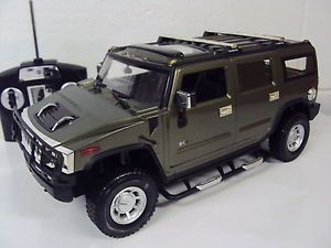 H2 Hummer Truck Radio Remote Control Car LED Lights Rechargeable 1 14 Army Green