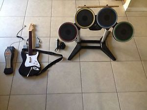 Rock Band 2 Drums Guitar and Microphone with Receivers PS3