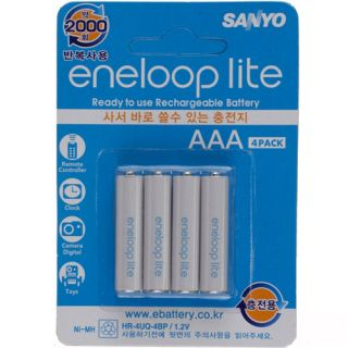 Sanyo Eneloop Battery Lite Ni MH 600 mAh AAA Size Rechargeable Batteries 4pack