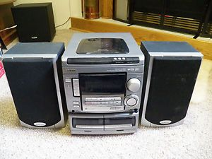 Aiwa 3 Disk CD Compact Disc Shelf Stereo System Radio CX NA508U Tape Am FM Japan