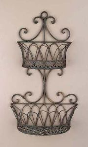 Wrought Iron Metal Double Wall Baskets Planters Shelves