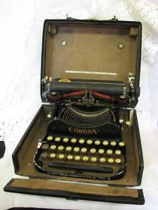 Antique Portable Folding Travel Corona Typewriter 3 in Case 1910