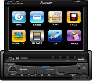 "Farenheit Indash 1 DIN Car 7"" Touchscreen Monitor DVD CD USB iPod Player Stereo"