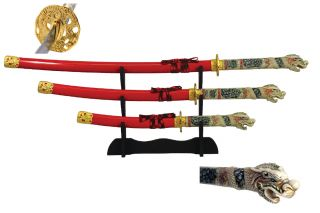 4 Pcs Open Mouth Dragon Samurai Katana Sword Set with Red Scabbard Brand New