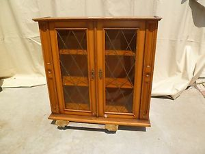 Antique Oak China Cabinet Server Top Book Case English Leaded Glass in Doors