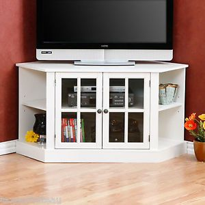 "Shabby Cottage Beach Chic White Corner 42"" Flat Screen TV Cabinet Media Stand"