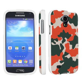 Samsung Galaxy S4 Mini Designer White Cover Case Orange Camo