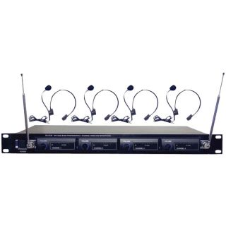 Pyle PDW M4400 4 Channel VHF Wireless Microphone System
