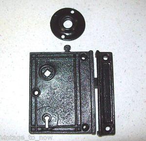 Antique Vintage 3 Piece Door Latch Lock Striker Plate Old Surface Mount Hardware