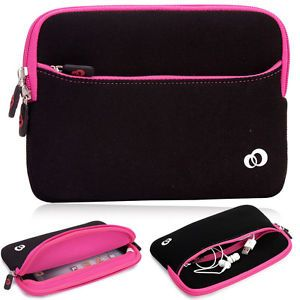 Kroo Hot Pink Soft Washable Protective Carrying Zipper Sleeve Cover for Tablets