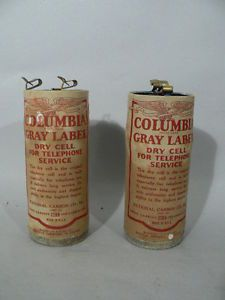 Pair of Early Telephone Dry Cell Batteries Columbia Gray Label