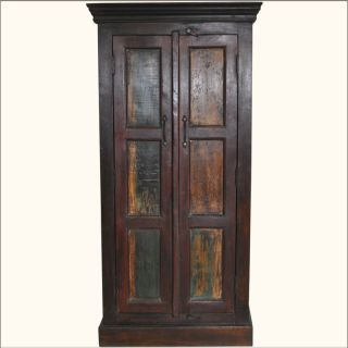 Rustic Hardwood Hand Painted Storage Armoire Wardrobe Closet 3 Shelf Cabinet New