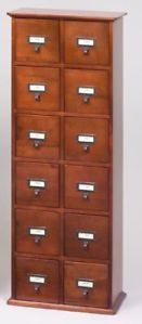 Solid Oak Library Style 144 CD Storage Cabinet Rack Wal