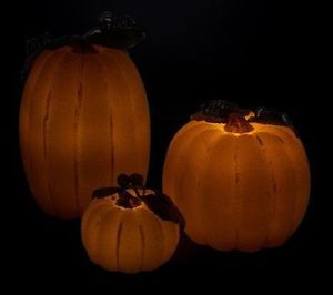 Set of Three Beaded Pumpkin Luminaries with Timers by Valerie Thanksgiving Fall