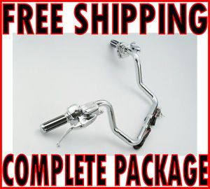 "Paughco 14"" Chrome Pre Wired Ape Hanger Handlebar Controls Switches Grips Kit"