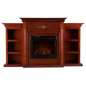 Emerson Mantel Electric Fireplace w Bookcase TV Entertainment Stand TV Stand New