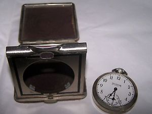 Vintage Ingraham by Viceroy Pocket Watch Clock Travel Case Alarm