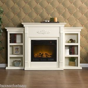 Tennyson Ivory White Electric Fireplace Bookcase TV Stand Mantle SEI FE8544 New