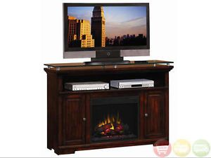 Electric Fireplace Heater Media Mantle Cherry TV Stand
