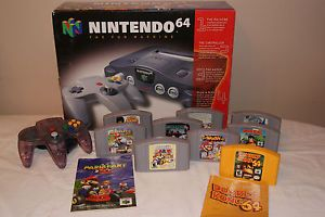 Nintendo 64 N64 Video Game Console Boxed Purple Controller Mario Smash Bros Lot