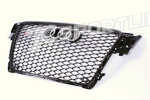 Audi A4 B8 RS4 Grill Grille w Parking Sensor Painted Black Color Fits 09 11