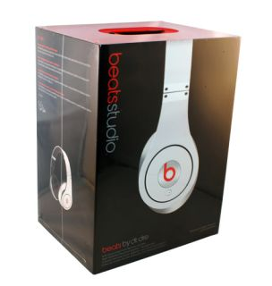 Beats by Dr Dre Studio Headphones Over Ear Stereo White Hard Shell Case New