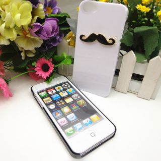 2pcs Glossy Chaplin Dumb Show Sexy 3D Mustache Case Cover for iPhone 5 5th