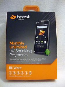 ZTE Warp 4GB Black Boost Mobile Smartphone New and Factory SEALED