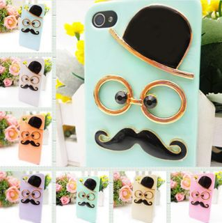 New Leon Chaplin Dumb Show Sexy 3D Gentleman Mustache Case Cover for iPhone 4 4S