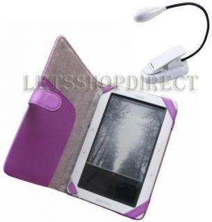 Barnes Noble Nook Purple Leather Case White LED Light