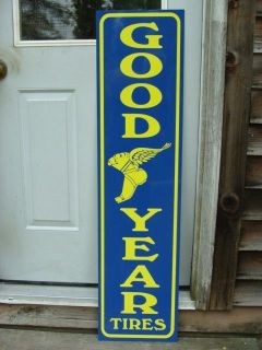 Goodyear Tires Early 1920's Style 1'x4' Metal Dealer Sign w Logo Garage Art