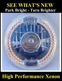 "7"" Headlights Dual Function LED Turn Signal Running Light Hot Rod GM 2 Caddy"