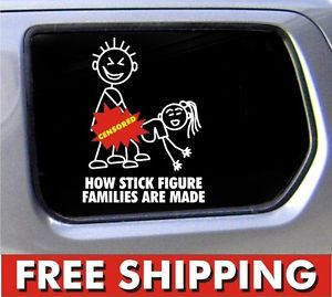 Stick Figure Family Decal Funny Window Bumper Sticker Car How Made Vinyl Free