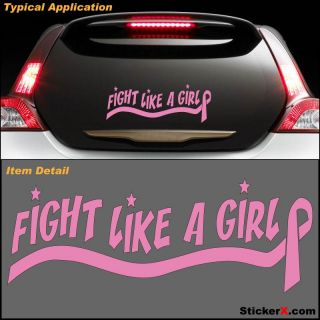 """Fight Like A Girl Pink Breast Cancer Decal Sticker 14"""""""