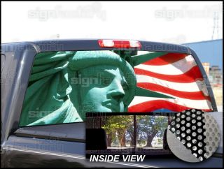 American Flag Statue of Liberty Universal Window Tint Graphic Decal Pickup Truck