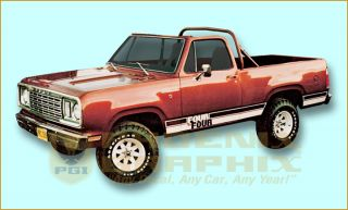 1977 1978 Dodge Ramcharger 4 x 4 Truck Decals Stripes Kit