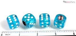 4 Clear Blue Gem Dice Tire Wheel Stem Air Valve Caps Set for Car Truck Hotrod