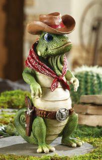 Iguana Cowboy Bandit Garden Statue Lizard Polyresin Yard Home Deck Lawn Decor